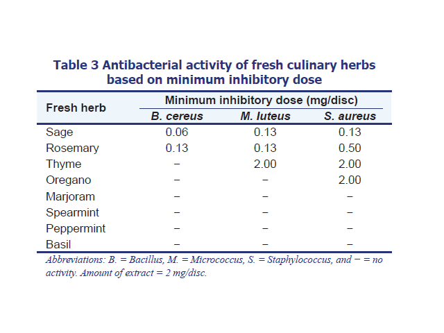 Antioxidant and antibacterial properties of some fresh and dried Labiatae herbs